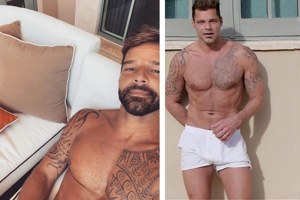 Ricky Martin con barba y sin barba